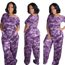 Casual Camou Print Short Sleeve Loose Jumpsuit