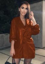 Casaco de couro PU de manga comprida outono
