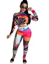 Ensemble de pantalons décontractés à taille haute assortis colorés, 2 pièces