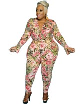Plus Size 2 Piece Floral Shirt and Pants Set