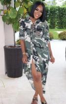 Vestido de blusa larga y baja con estampado de camuflaje