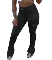 Pantalones apilados de cintura alta con bolsillos con cordón