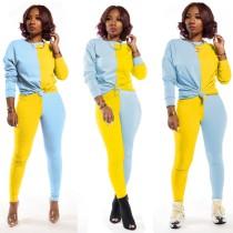 Conjunto de calças e camisa de contraste casual 2 peças