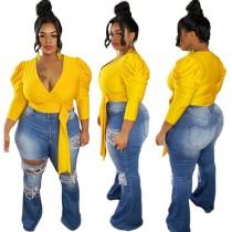 Plus size jeans met hoge taille en scheuren