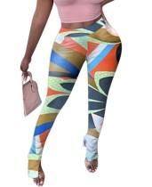 Colorful Print High Waist Slit Pants