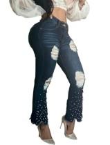 Bead Blue Jeans rasgados con estilo