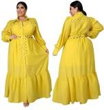 Vestido largo amarillo ahuecado de talla grande con mangas completas