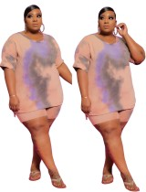 Plus Size Tie Dye Side Slit Shirt and Biker Shorts Set