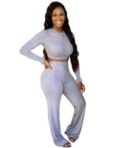 Solid Color 2 Piece Ruched Crop Top and Pants Set