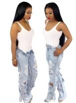 Blaue Street Jeans mit hoher Taille