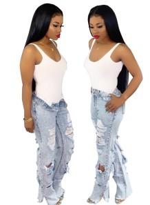 Синие рваные уличные джинсы с высокой талией