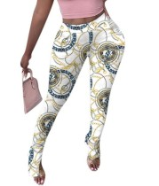 Pantalones con aberturas de cintura alta con estampado de cadenas