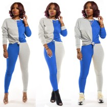 Casual 2-delige set met contrasterend overhemd en broek