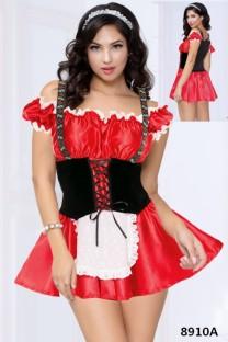 Seksi Kırmızı Fransız Hizmetçi Kostüm