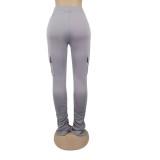 Drawstring Pockets High Waist Stacked Pants