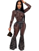 Sexy 2 Piece Print Bodysuit and Flare Pants Set