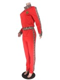 Long Sleeve Casual Print Zip Up Jumpsuit