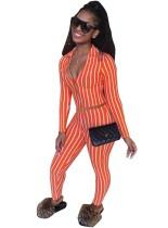 Sexy 2-teiliges gestreiftes, tailliertes Crop Top und Legging Set