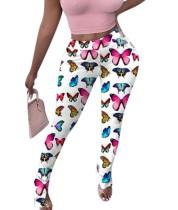 Pantalones con abertura de cintura alta con estampado de mariposas