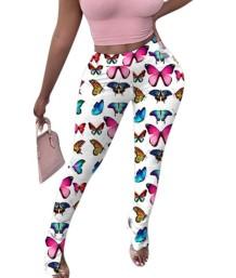Broek met hoge taille en vlinderprint