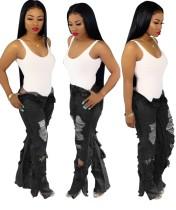Schwarze Street Jeans mit hoher Taille