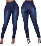Blauwe hoge taille ingerichte sexy jeans