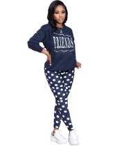 Herbst 2pc Matching Print Top und Pants Lounge Wear