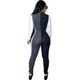 Autumn Contrast Long Sleeve Zipper Bodycon Jumpsuit