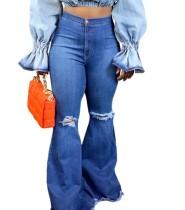 Blau gestreifte High Waist Ripped Flare Jeans