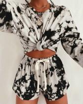 Sonbahar 2pc Eşleşen Batik Gömlek ve Şort Lounge Wear