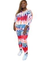 Plus Size Autumn Tie Dye 2-teiliges Hosen-Set