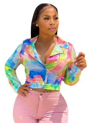 Veste courte zippée à imprimé tie-dye de grande taille
