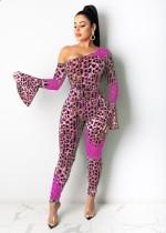 Party Slash Schulter Leopard Bodycon Jumpsuit mit breiten Manschetten