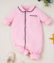 Baby Girl Autumn Pink Button Up Strampler