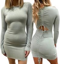 Mini vestido fruncido recortado sexy de otoño