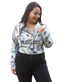 Plus Size Dollar Print Zip Up Kurze Jacke