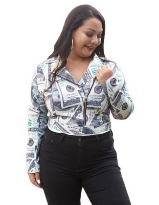 Veste courte zippée à imprimé dollar de grande taille