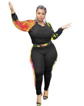 Комплект облегающей рубашки и брюк с осенним принтом больших размеров