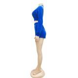 Top corto e pantaloncini con cerniera in velluto autunnale
