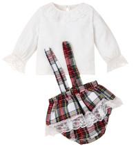 Conjunto de camiseta branca de outono para bebê menina e shorts xadrez