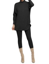 Autumn Casual Solid Color 2pc Shirt and Legging Set