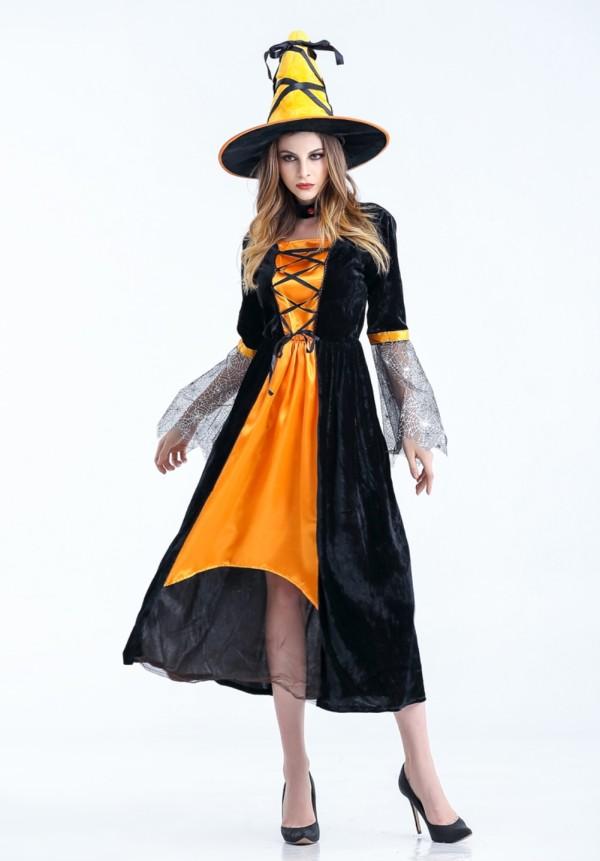 Conjunto de fantasia longa de bruxa de Halloween