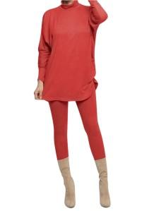 2-delige set van overhemd en legging in effen herfstkleur