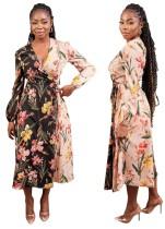 Robe portefeuille élégante à imprimé floral d'automne à manches longues