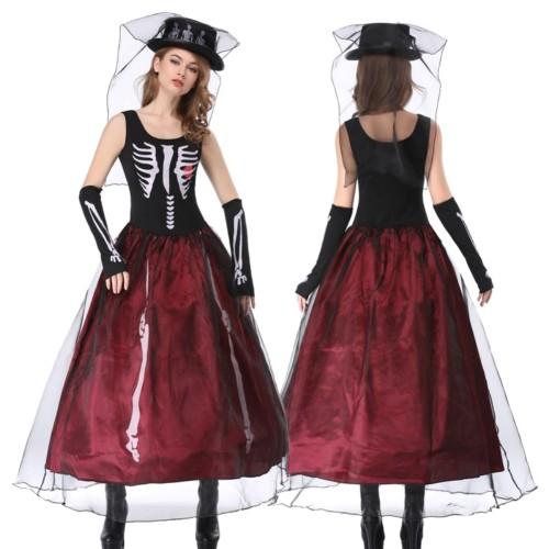 Halloween skelet koningin kostuum set
