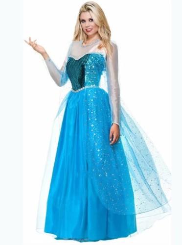 Cosplay koningin blauw kostuum set