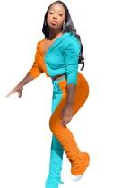 Sports Contrast Zip Up Hoodie Jacke und Stacked Pants Set