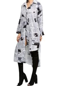 Herfst wit en zwart nieuwsbrief print onregelmatige lange blousejurk