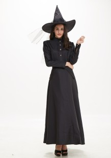Halloween Black Witch Long Costume Set