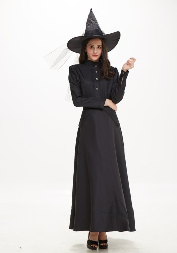 Conjunto de disfraz largo de bruja negra de Halloween